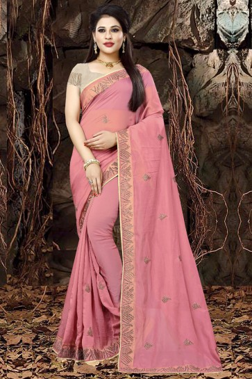 Pretty Pink Organza Party Wear Embroidered Saree With Banglori Silk Blouse