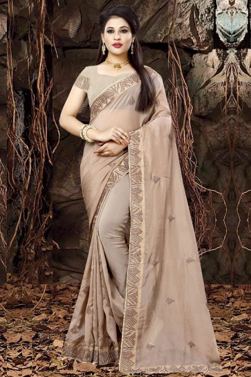 Charming Beige Organza Party Wear Embroidered Saree With Banglori Silk Blouse