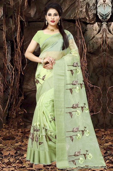 Graceful Green Organza Party Wear Embroidered Saree With Banglori Silk Blouse
