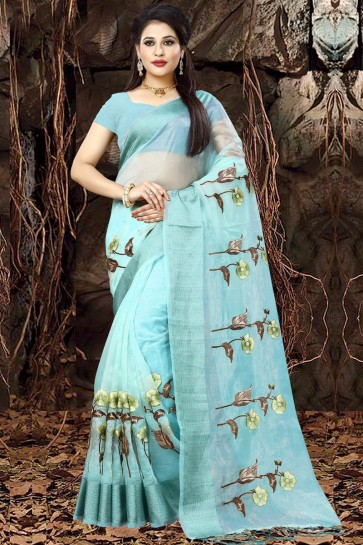 Admirable Sky Blue Organza Party Wear Embroidered Saree With Banglori Silk Blouse