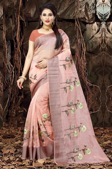 Supreme Peach Organza Party Wear Embroidered Saree With Banglori Silk Blouse
