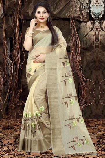 Desirable Beige Organza Party Wear Embroidered Saree With Banglori Silk Blouse
