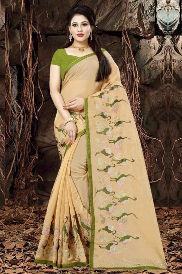 Classic Orange Organza Party Wear Embroidered Saree With Banglori Silk Blouse