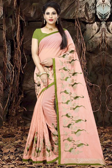 Marvelous Peach Organza Party Wear Embroidered Saree With Banglori Silk Blouse