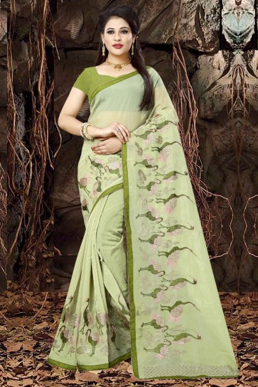 Excellent Green Organza Party Wear Embroidered Saree With Banglori Silk Blouse