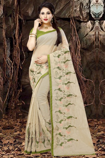 Ultimate Beige Organza Party Wear Embroidered Saree With Banglori Silk Blouse