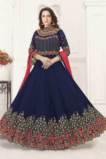 Lovely Navy Blue Georgette Embroidered Anarkali Salwar Suit With Chiffon Dupatta