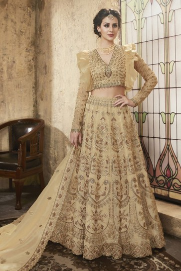 Supreme Beige Net Embroidered Designer Lehenga Choli With Net Dupatta