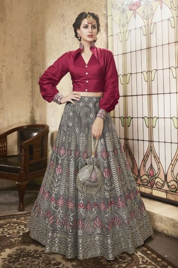 Excellent Grey Net Embroidered Designer Lehenga Choli With Net Dupatta