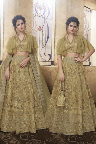 Graceful Olive Net Embroidered Designer Lehenga Choli With Net Dupatta