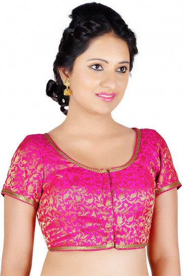Charming Magenta Brocade Lace Work Blouse