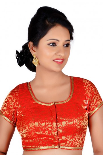 Desirable Red Brocade Lace Work Blouse