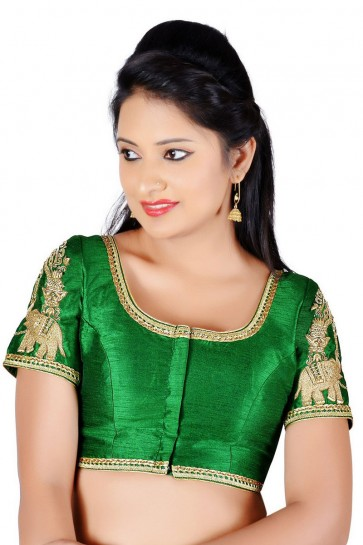 Gorgeous Green Dhupion and Silk Lace Work Blouse