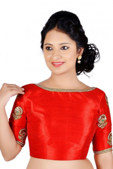 Admirable Red Dhupion and Silk Lace Work Blouse