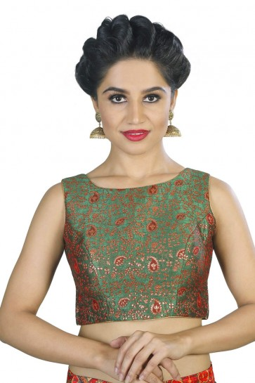 Charming Green Brocade Embroidered Blouse