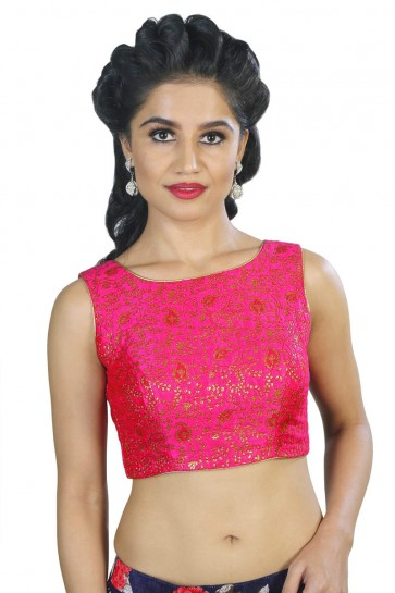 Excellent Pink Brocade Embroidered Blouse