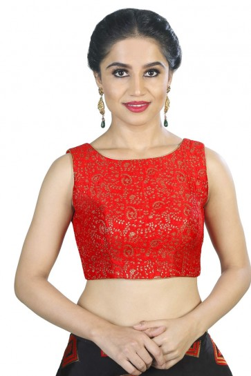 Graceful Red Brocade Embroidered Blouse