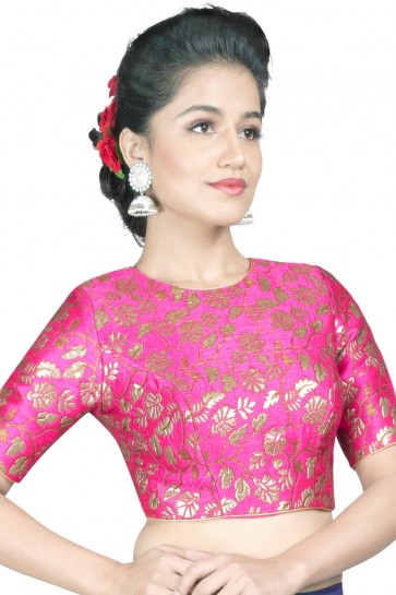 Desirable Pink Brocade Jacquard Blouse