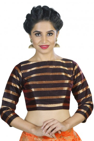 Beautiful Brown Stripe Fabric Solid Blouse