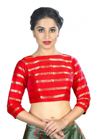Excellent Red Stripe Fabric Solid Blouse