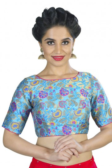 Lovely Blue Brocade Printed Blouse