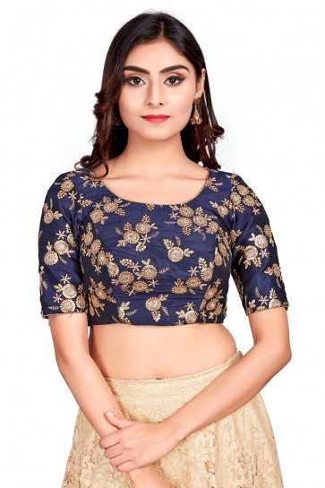 Graceful Navy Blue Brocade Zari Work Blouse