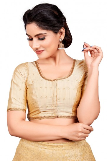 Beautiful Golden Silk Embroidered Blouse