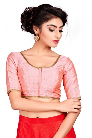 Lovely Pink Silk Embroidered Blouse