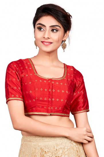 Gorgeous Red Silk Embroidered Blouse