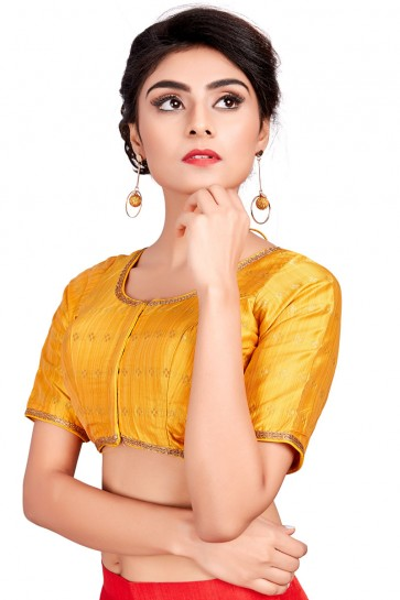 Supreme Yellow Silk Embroidered Blouse