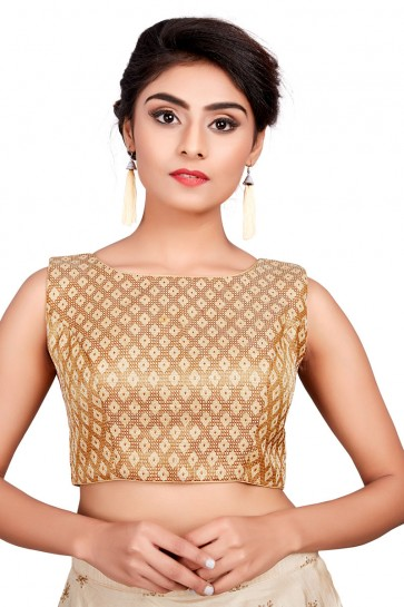 Excellent Golden Brocade Embroidered Blouse