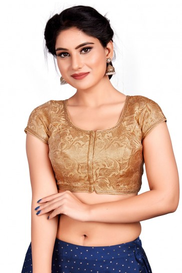 Gorgeous Golden Brocade Embroidered Blouse