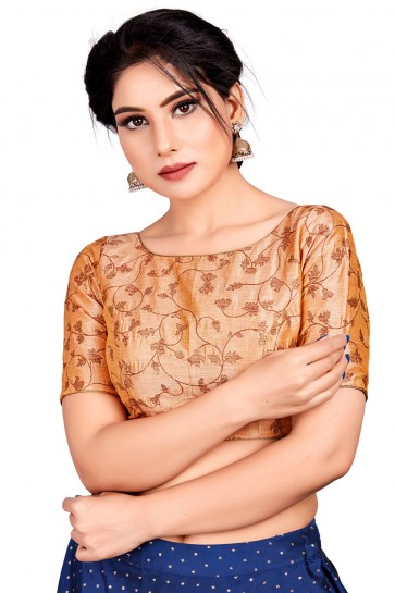 Lovely Beige Brocade Embroidered Blouse