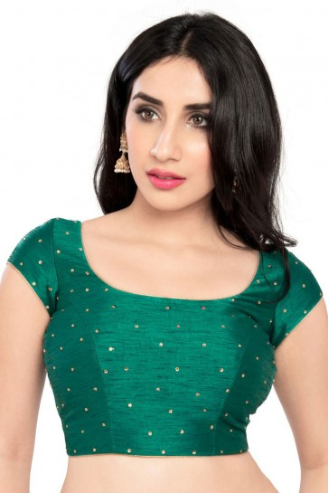 Lovely Green Dhupion and Silk Blouse