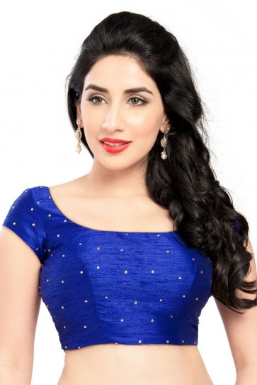 Excellent Blue Dhupion and Silk Blouse