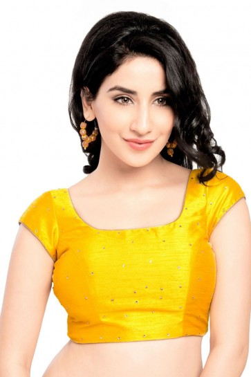 Graceful Yellow Dhupion and Silk Blouse
