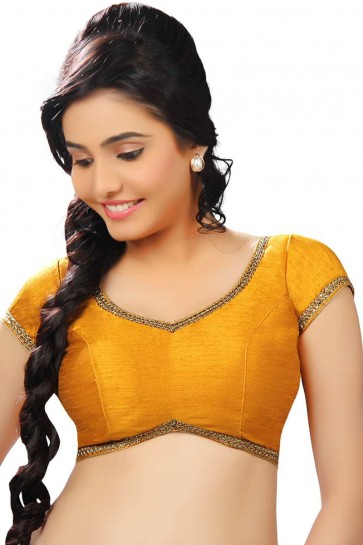 Optimum Mustard Dhupion and Silk Lace Work Blouse