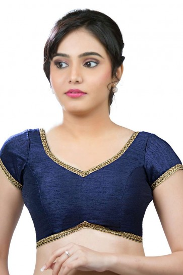 Lovely Navy Blue Dhupion and Silk Lace Work Blouse