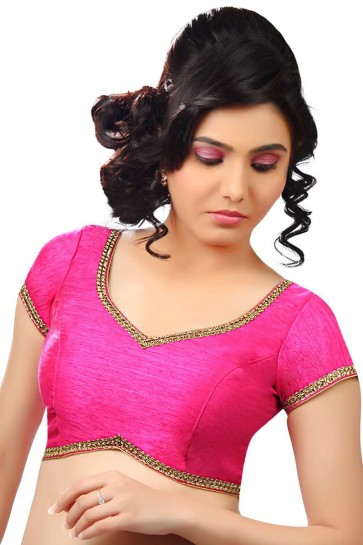 Desirable Pink Green Dhupion and Silk Lace Work Blouse