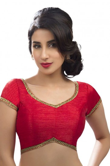 Classic Red Dhupion and Silk Lace Work Blouse