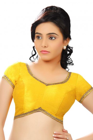 Marvelous Yellow Dhupion and Silk Lace Work Blouse