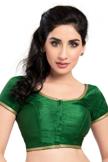 Marvelous Green Brocade Lace Work Blouse