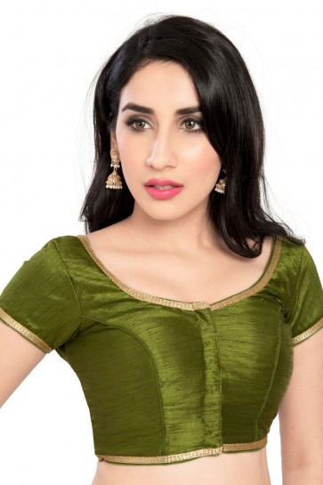 Pretty Mehendi Green Brocade Lace Work Blouse