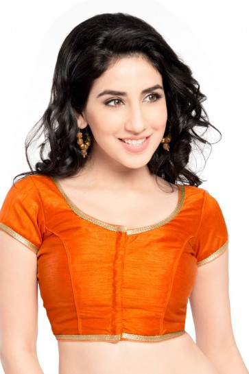 Gorgeous Orange Brocade Lace Work Blouse