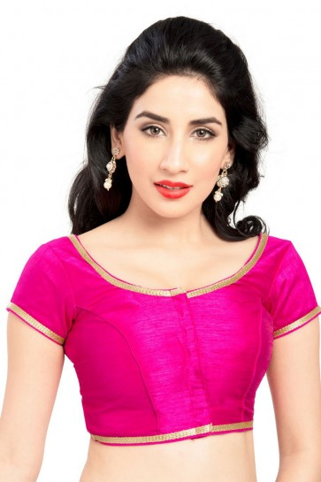 Pretty Pink Brocade Lace Work Blouse