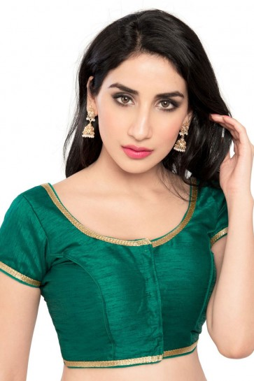 Admirable Green Brocade Lace Work Blouse