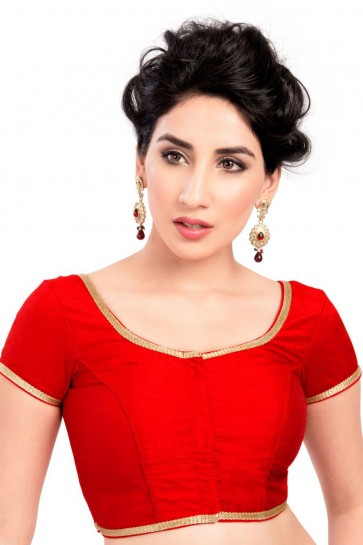 Desirable Red Lace Work Brocade Blouse