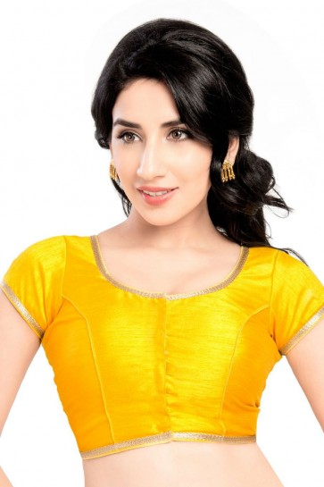 Graceful Yellow Brocade Lace Work Blouse