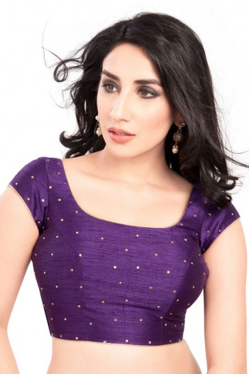 Lovely Purple Dhupion and Silk Blouse