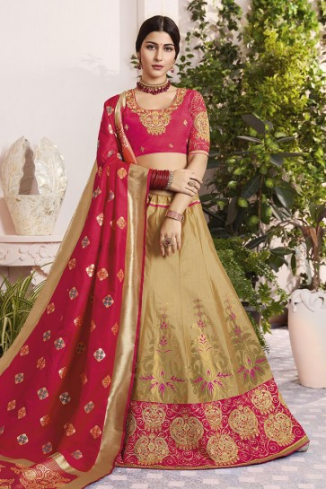 Admirable Golden Silk and Jacquard Embroidered Designer Lehenga Choli With Silk and Jacquard Dupatta
